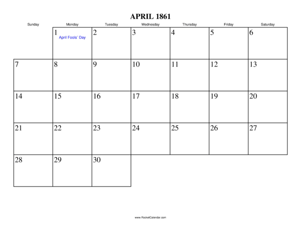 Next month: May 1861 | Previous month: March 1861 | All 1861 Calendars ...