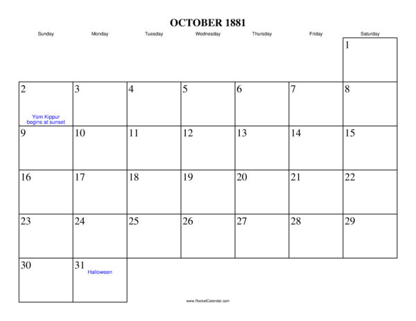 ... month: September 1881 | All 1881 Calendars | Calendars for other years