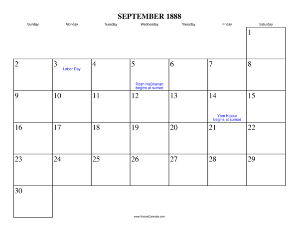 month: October 1888 | Previous month: August 1888 | All 1888 Calendars ...