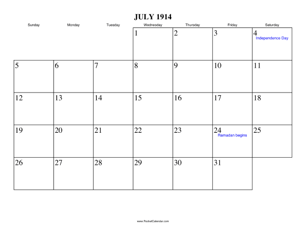Holidays in July, 1914: