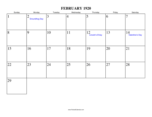 Holidays in February, 1920: