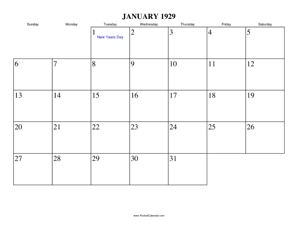 Holidays in January, 1929:: https://www.rocketcalendar.com/calendar/1929-01