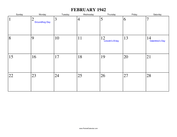 Holidays in February, 1942: