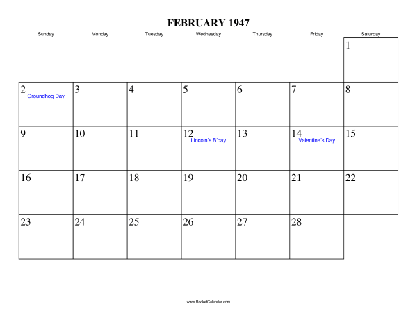 Holidays in February, 1947:: https://www.rocketcalendar.com/calendar/1947-02