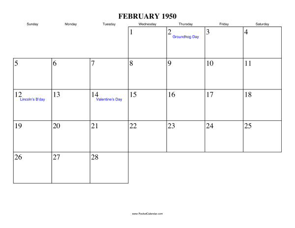 Holidays in February, 1950:: https://www.rocketcalendar.com/calendar/1950-02