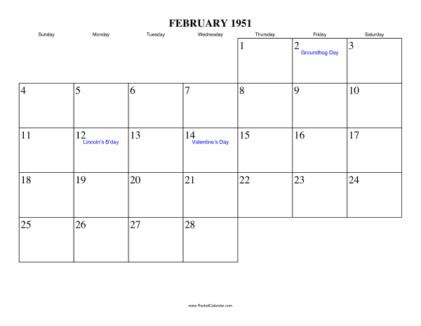 Holidays in February, 1951: