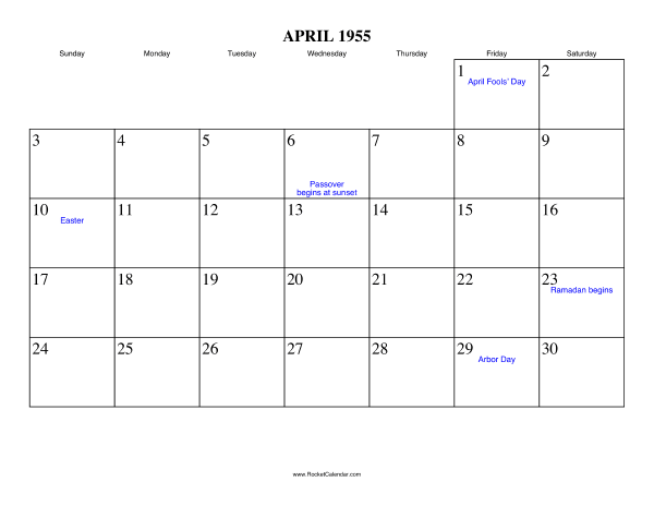 Holidays in April, 1955: