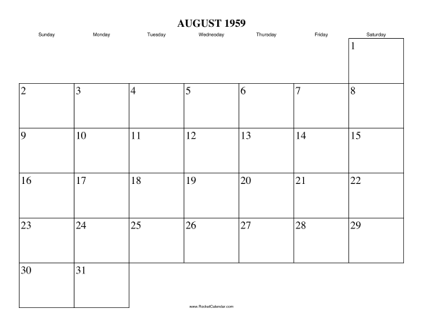 month: September 1959 | Previous month: July 1959 | All 1959 Calendars ...