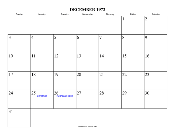 Holidays in December, 1972:: https://www.rocketcalendar.com/calendar/1972-12