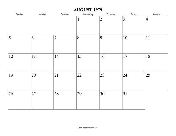 next month september 1979 previous month july 1979 all 1979 calendars ...