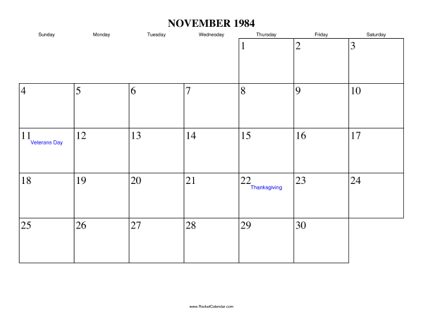 Holidays in November, 1984: