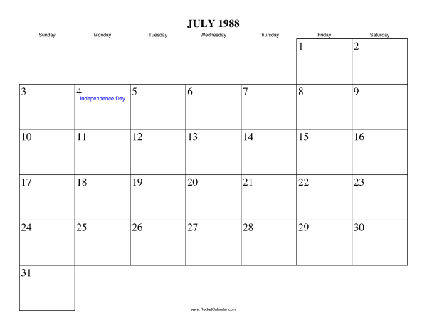 Holidays in July, 1988: