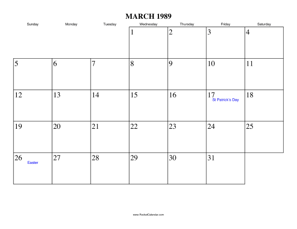 Holidays in March, 1989: