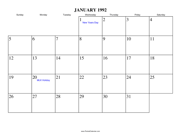 Holidays in January, 1992: