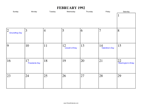 Holidays in February, 1992: