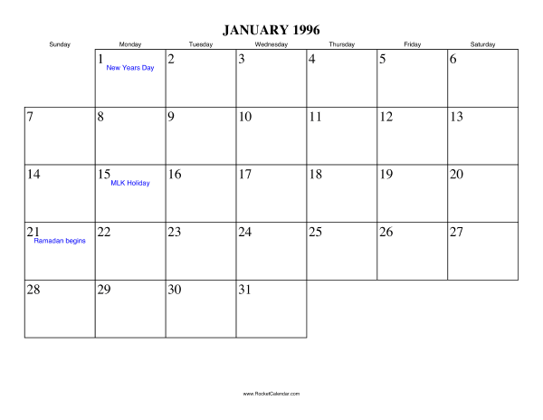 Holidays in January, 1996: