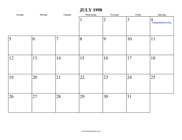 Holidays in July, 1998: