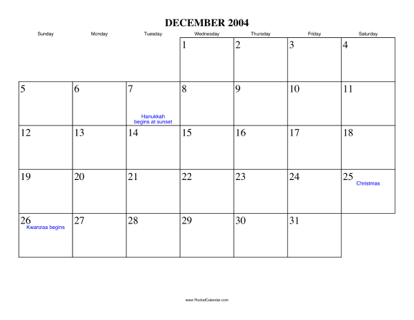 Holidays in December, 2004: