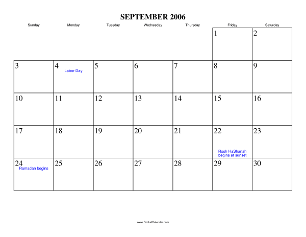 Holidays in September, 2006:: https://www.rocketcalendar.com/calendar/2006-09
