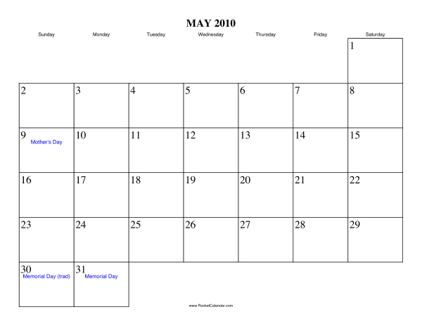 Holidays in May, 2010:
