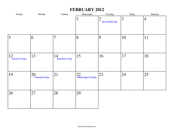 Holidays in February, 2012: