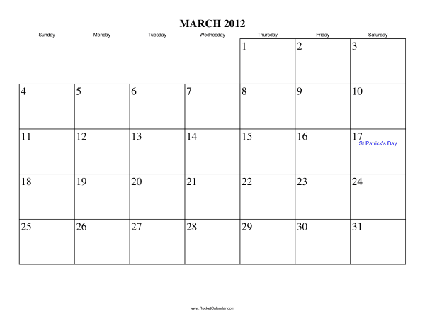 Holidays in March, 2012: