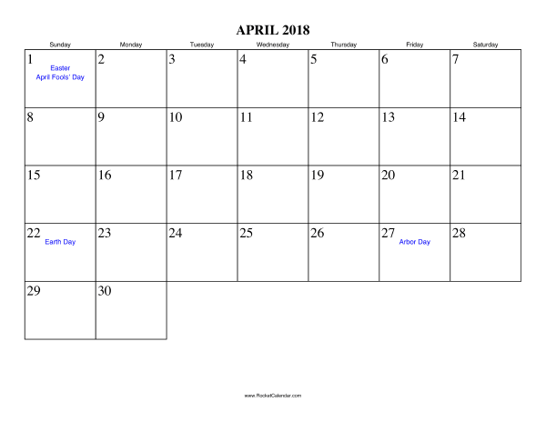 Holidays in April, 2018: